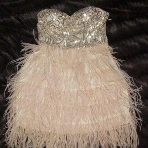 Bebe XS gold and silver Sequin feather dress